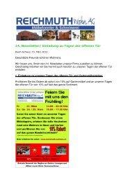 14. Newsletter/ Einladung zu Tagen der offenen Tür - REICHMUTH ...