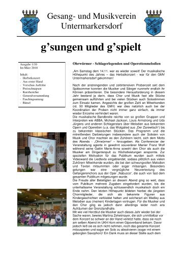 Vereinsnachrichten 2010-01 - GMV Untermarkersdorf