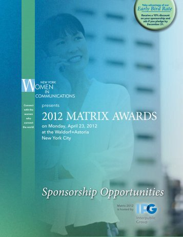 2012 MATRIX AWARDS - New York Women in Communications, Inc.