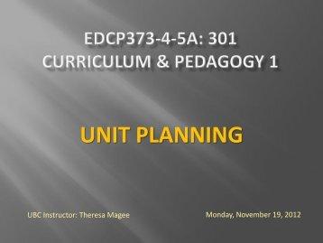Nov 19 – Unit Plans
