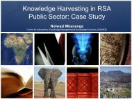 Knowledge Harvesting in RSA Public Sector : Case Study - MILE