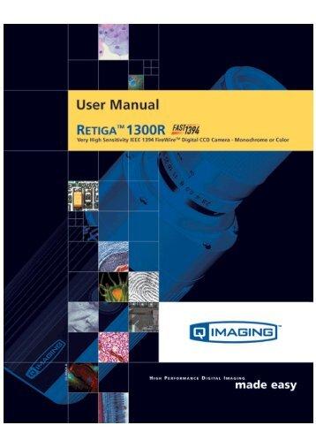 Retiga 1300R Fast 1394 User's Manual - QImaging