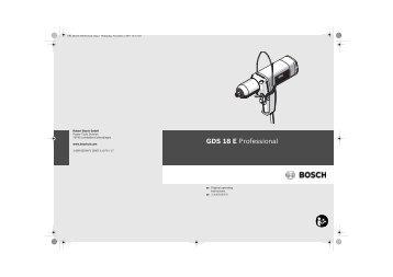 GDS 18 E Professional: 下载PDF 格式的用户手册 - 博世电动工具