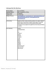 Unit/Lesson Plan Title: Silly Circus Primary Subject Force and ...