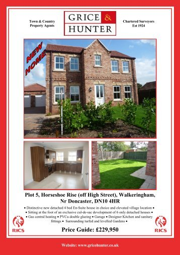Price Guide: £229950 Plot 5, Horseshoe Rise (off ... - Grice & Hunter