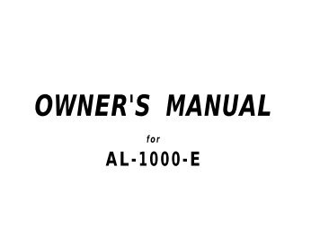 Owner's manual - car alarm