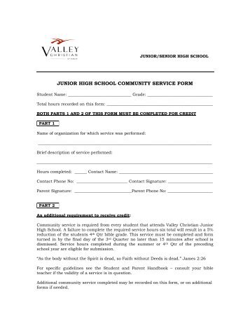 Jh community service form valley christian center junior high school community service form dublinvcc altavistaventures Images