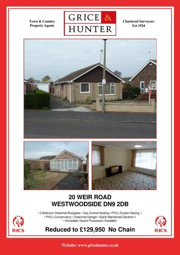 Reduced to £139,950 No Chain 20 WEIR ROAD ... - Grice & Hunter