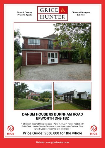 650000 for the whole DANUM HOUSE 85 ... - Grice & Hunter