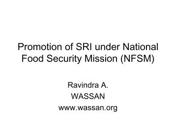 Promotion of SRI under National Food Security Mission - SRI - India