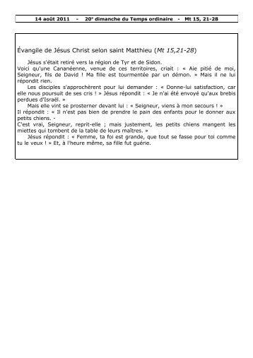 Évangile de Jésus Christ selon saint Matthieu (Mt 15,21-28)