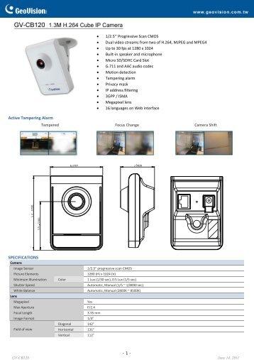 GV-CB120 Datasheet - CCTV Cameras