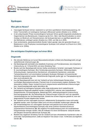 Synkopen - Österreichische Gesellschaft für Neurologie