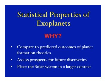 Statistical Properties of Exoplanets - CASS