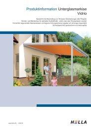 Produktinformation Unterglasmarkise Vidrio - Hella Sonnen