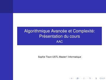 Algorithmique Avanc´ee et Complexit´e: Pr´esentation du cours - FIL
