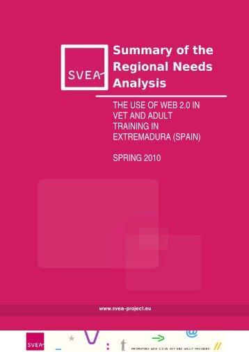 Regional Analysis Report (Extramadura - ES) - SVEA