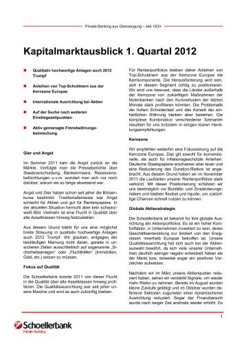 Kapitalmarktausblick 1. Quartal 2012