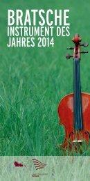 Bratsche – Instrument des Jahres 2014 - Landesmusikrat Berlin e.V.