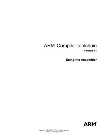 ARM Compiler toolchain Using the Assembler