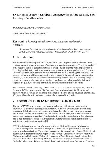 EVLM pilot project - European challenges in on-line teaching ... - ICL