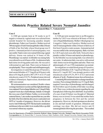 Obstetric Practice Related Severe Neonatal Jaundice - JK Science