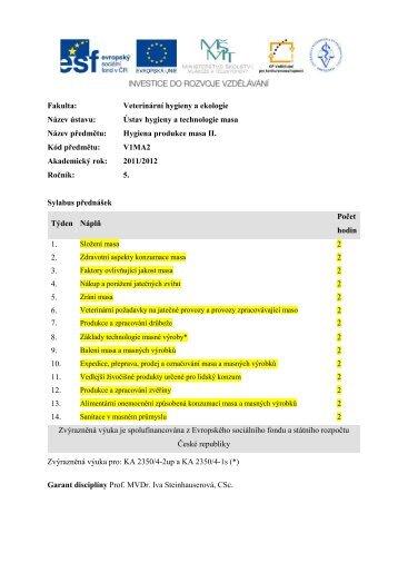 V1MA2 Hygiena produkce masa II – LS 2012 - Veterinární a ...
