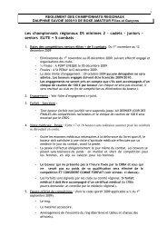 Les championnats régionaux DS minimes 2 – cadets – juniors ...