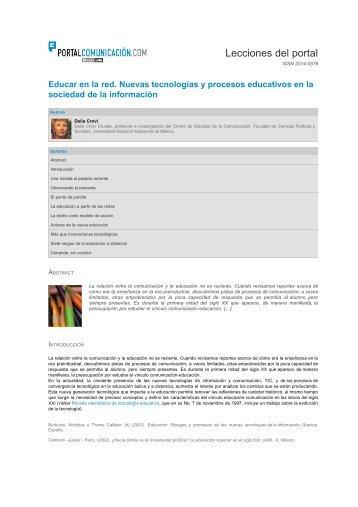 Educar en la red. Nuevas tecnologías y procesos educativos en la ...