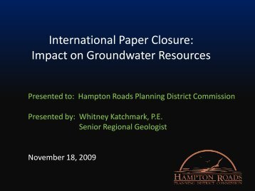 Groundwater Impacts - Hampton Roads Planning District Commission