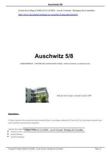 Auschwitz 5/8 - Collège CAMILLE CLAUDEL