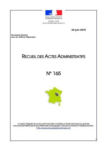 RAA 165 - Préfecture de la Côte-d'Or
