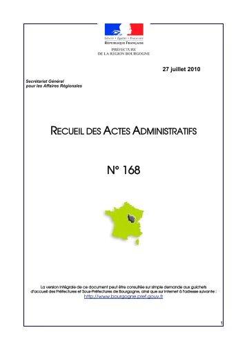 RAA 168 - Préfecture de la Côte-d'Or
