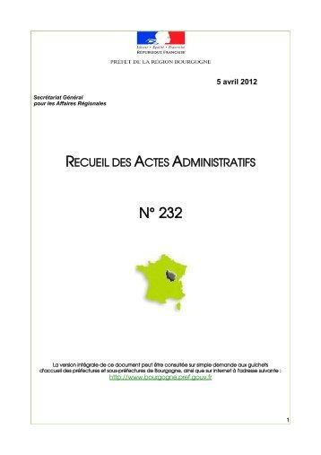 RAA 232 - Préfecture de la Côte-d'Or