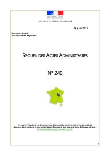 RAA 240 - Préfecture de la Côte-d'Or