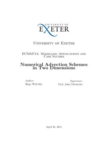 Numerical Advection Schemes in Two Dimensions