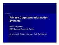 Privacy Cognizant Information Systems - Zoo