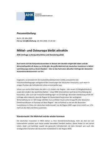 Offizielle Pressemitteilung MOE - AHK Serbien