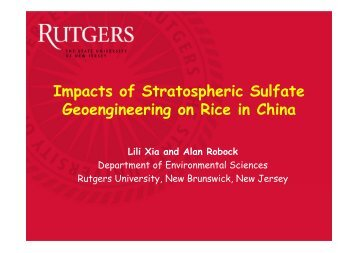 Impacts of Stratospheric Sulfate Geoengineering on Rice in China