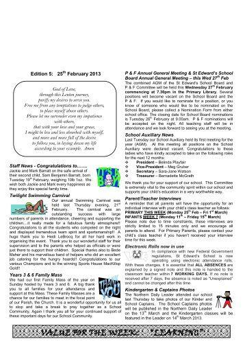 Newsletter Edition 5 2013 - St Edwards Primary School