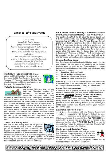 Newsletter Edition 5 2013 - St Edwards Primary School