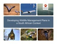 Developing Wildlife Management Plans in a South African Context