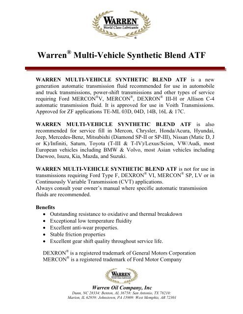 Warren Multi-Vehicle Synthetic Blend ATF - Warren Oil