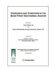 hydrogeologic conditions in the boise front geothermal aquifer