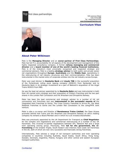 About Peter Wilkinson Curriculum Vitae Renaissance Trains