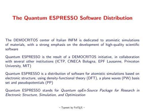 The Quantum ESPRESSO Software Distribution