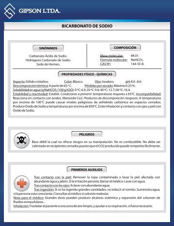 bicarbonato de sodio - Gipsonltda