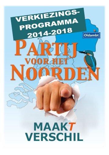 PvhN Oldambt Verkiezingsprogramma 2014-2018