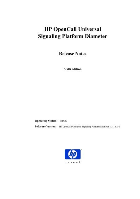 HP OpenCall Universal Signaling Platform Diameter