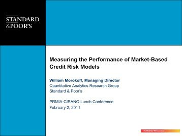 Measuring the Performance of Market-Based Credit Risk ... - Cirano